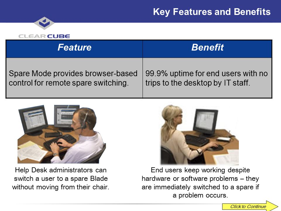 ClearCube Confidential Key Features and Benefits FeatureBenefit Manage Mode provides graphical browsing of your entire system. Simplify problem resolu