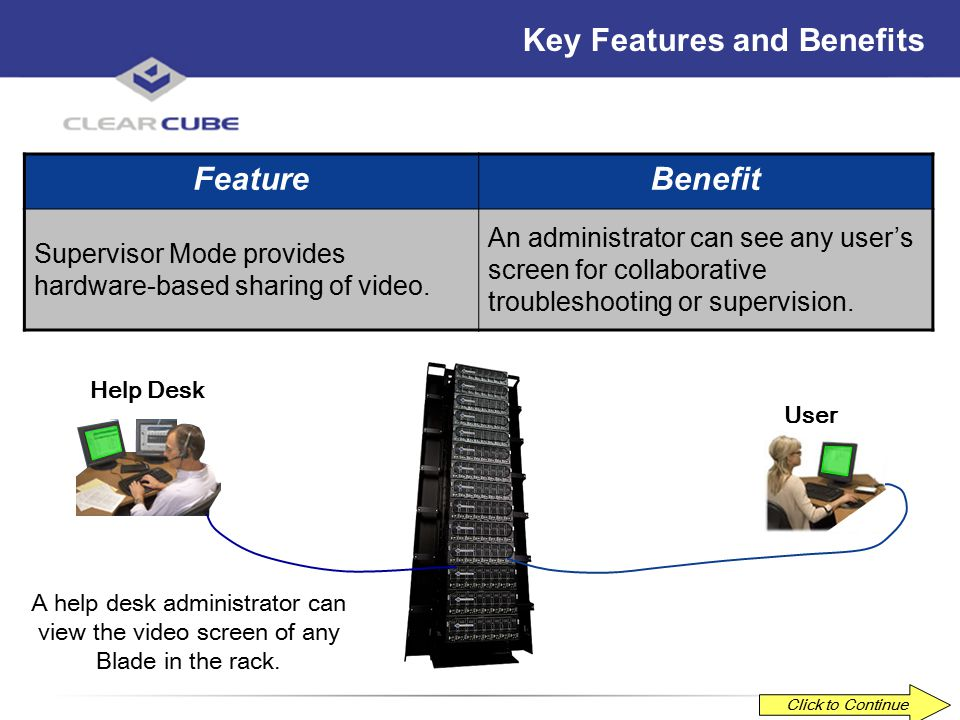 ClearCube Confidential Key Features and Benefits FeatureBenefit Administrator Mode provides hardware-based remote control.