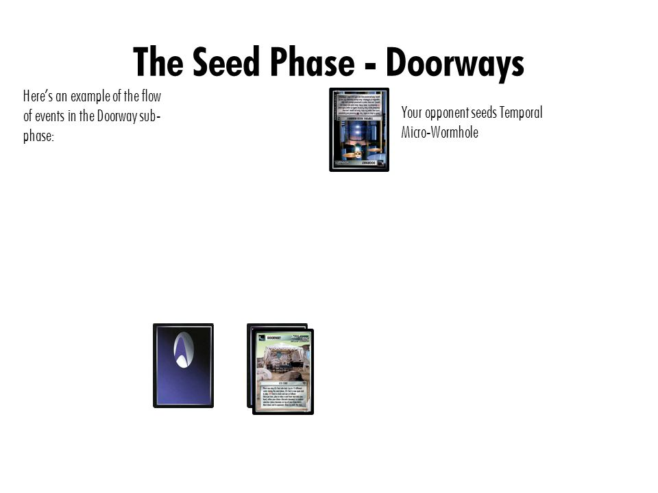 The Seed Phase - Doorways Here's an example of the flow of events in the Doorway sub- phase: You seed the Battle Bridge Doorway to activate your Battle Bridge Side deck