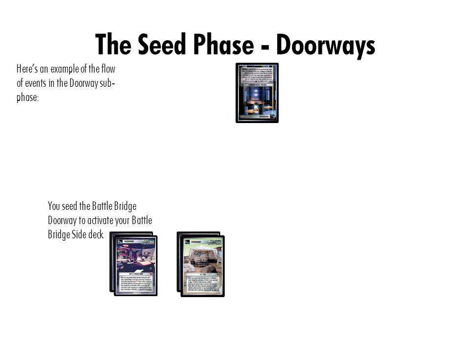 The Seed Phase - Doorways Here's an example of the flow of events in the Doorway sub- phase: Your opponent seeds Space- Time Portal