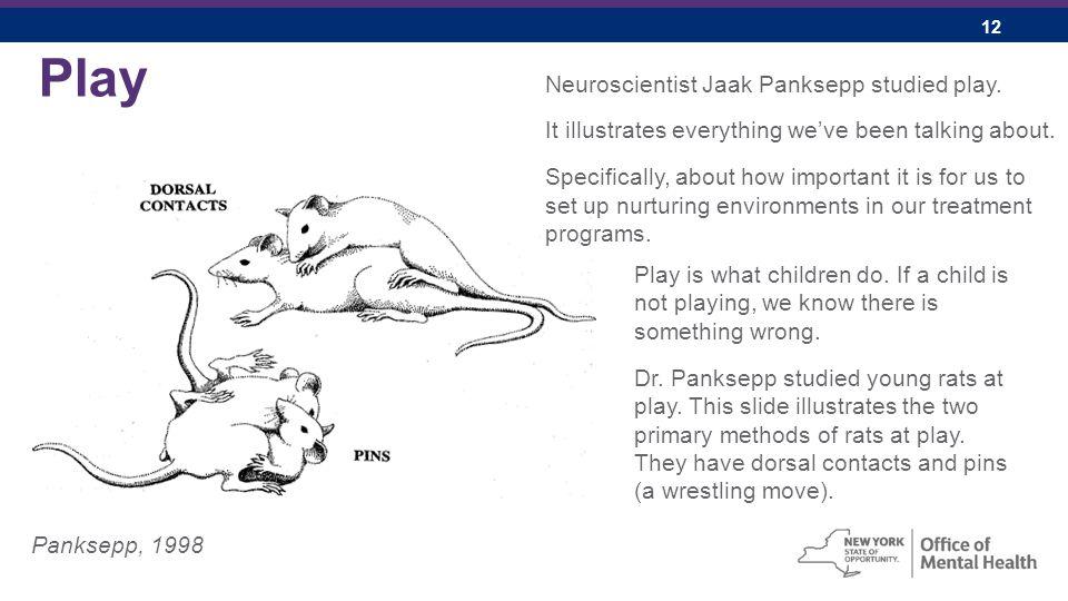 12 Play Panksepp, 1998 Neuroscientist Jaak Panksepp studied play.