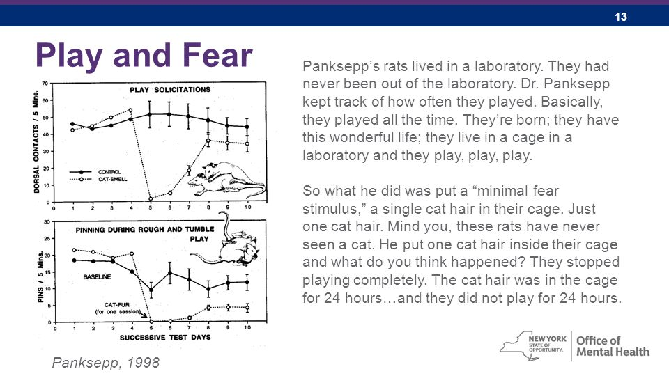 13 Play and Fear Panksepp, 1998 Panksepp's rats lived in a laboratory.