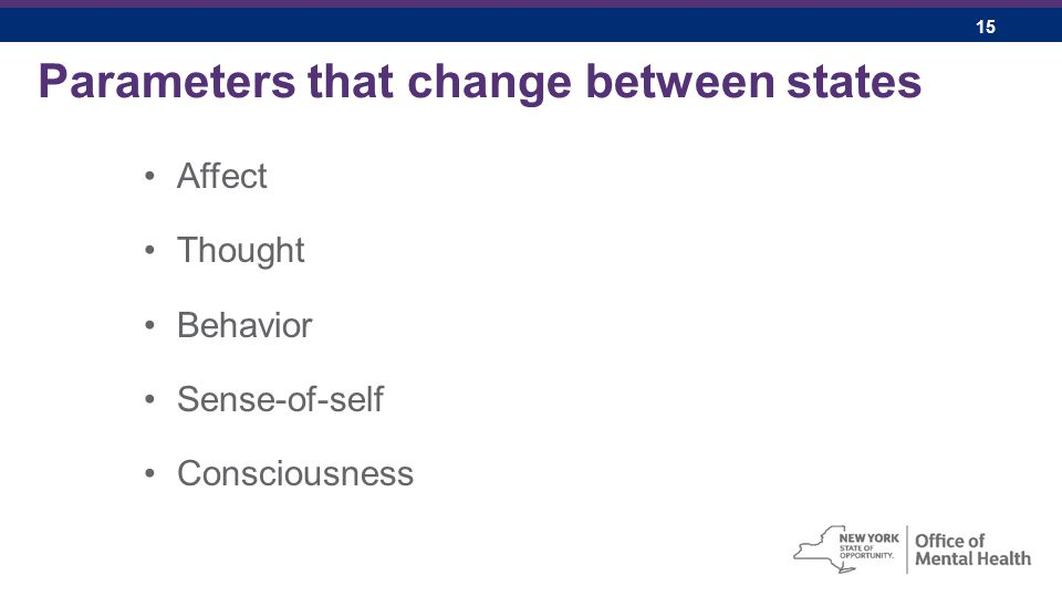 15 Parameters that change between states Affect Thought Behavior Sense-of-self Consciousness