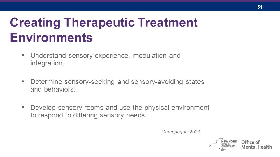 51 Creating Therapeutic Treatment Environments Understand sensory experience, modulation and integration.