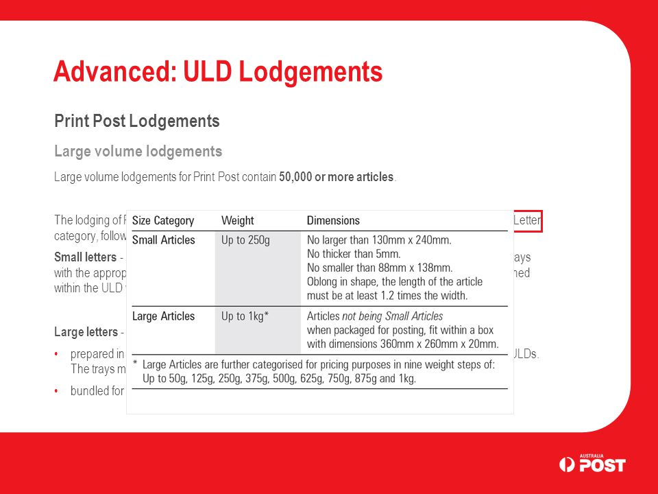 Advanced: ULD Lodgements Unaddressed Mail Lodgements Summary Key points covered for large volume Unaddressed Mail lodgements were: Large lodgements are more than 1 ULD per state Small letters must be presented in trays Large letters can be presented in trays or bundled Brick stacking is allowed for Large letters on approval from Australia Post There a 4 levels of ULD sorting: Direct Delivery Centre Single PSI Region Direct Mail Centre State There are minimum and maximum ULD fill levels ULD label must be attached