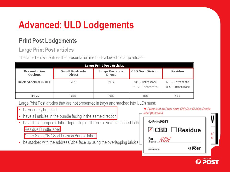 Advanced: ULD Lodgements Print Post Lodgements ULD presentation Print Post articles within ULDs can be presented in five different ways, as follows: a Single Sort Division a Multi Local Sort Division a Sort Division with top-up Mixed (no sortation) Consolidation