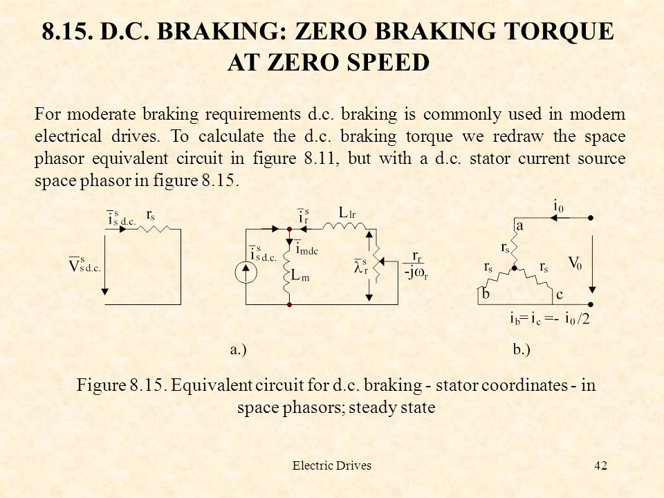 Electric Drives42 8.15. D.C. BRAKING: ZERO BRAKING TORQUE AT ZERO SPEED For moderate braking requirements d.c. braking is commonly used in modern elec