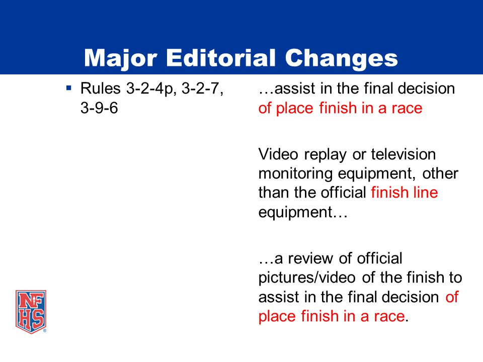  Rules 3-2-4p, 3-2-7,…assist in the final decision 3-9-6of place finish in a race Video replay or television monitoring equipment, other than the official finish line equipment… …a review of official pictures/video of the finish to assist in the final decision of place finish in a race.
