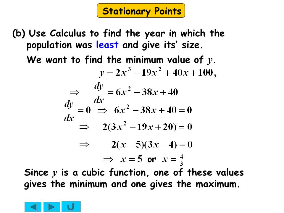 Stationary Points We want to find the minimum value of y.