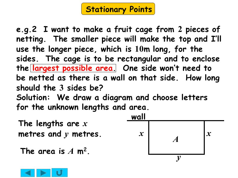 Stationary Points e.g.2 I want to make a fruit cage from 2 pieces of netting.