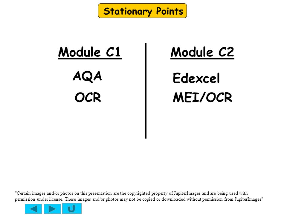 Stationary Points Module C1 AQA Edexcel OCRMEI/OCR Module C2 Certain images and/or photos on this presentation are the copyrighted property of JupiterImages and are being used with permission under license.