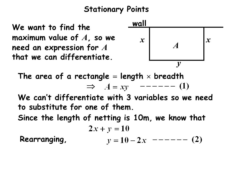 Stationary Points Solution: wall xx y A We want to find the maximum value of A, so we need an expression for A that we can differentiate.