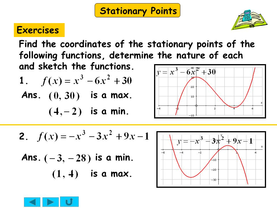 Stationary Points Exercises Find the coordinates of the stationary points of the following functions, determine the nature of each and sketch the functions.