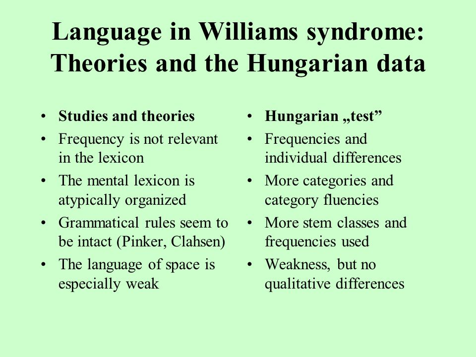 "Language in Williams syndrome: Theories and the Hungarian data Studies and theories Frequency is not relevant in the lexicon The mental lexicon is atypically organized Grammatical rules seem to be intact (Pinker, Clahsen) The language of space is especially weak Hungarian ""test Frequencies and individual differences More categories and category fluencies More stem classes and frequencies used Weakness, but no qualitative differences"