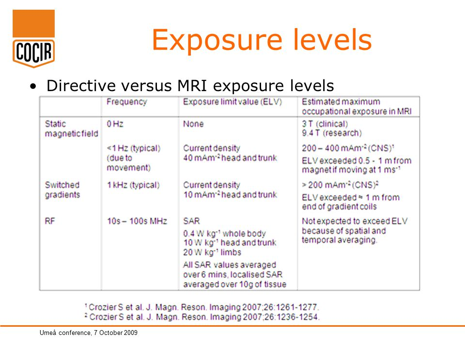 page 6 of total Umeå conference, 7 October 2009 Exposure levels Directive versus MRI exposure levels