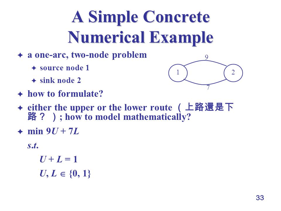 33 A Simple Concrete Numerical Example  a one-arc, two-node problem  source node 1  sink node 2  how to formulate.