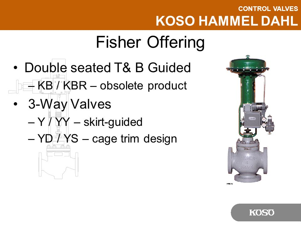 CONTROL VALVES KOSO HAMMEL DAHL Fisher Offering Double seated T& B Guided –KB / KBR – obsolete product 3-Way Valves –Y / YY – skirt-guided –YD / YS –