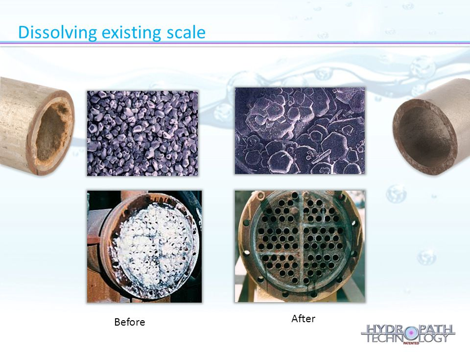 Before After Dissolving existing scale