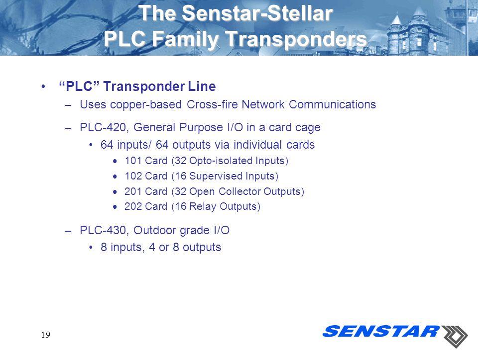 "19 The Senstar-Stellar PLC Family Transponders ""PLC"" Transponder Line –Uses copper-based Cross-fire Network Communications –PLC-420, General Purpose I"