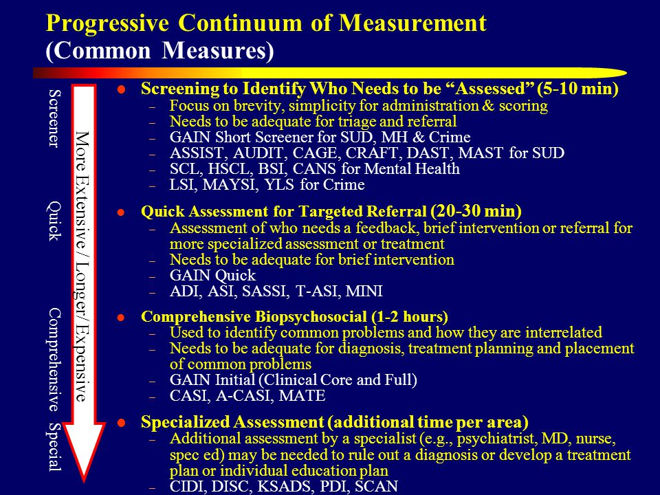 Progressive Continuum of Measurement (Common Measures) Screening to Identify Who Needs to be Assessed (5-10 min) – Focus on brevity, simplicity for administration & scoring – Needs to be adequate for triage and referral – GAIN Short Screener for SUD, MH & Crime – ASSIST, AUDIT, CAGE, CRAFT, DAST, MAST for SUD – SCL, HSCL, BSI, CANS for Mental Health – LSI, MAYSI, YLS for Crime Quick Assessment for Targeted Referral (20-30 min) – Assessment of who needs a feedback, brief intervention or referral for more specialized assessment or treatment – Needs to be adequate for brief intervention – GAIN Quick – ADI, ASI, SASSI, T-ASI, MINI Comprehensive Biopsychosocial (1-2 hours) – Used to identify common problems and how they are interrelated – Needs to be adequate for diagnosis, treatment planning and placement of common problems – GAIN Initial (Clinical Core and Full) – CASI, A-CASI, MATE Specialized Assessment (additional time per area) – Additional assessment by a specialist (e.g., psychiatrist, MD, nurse, spec ed) may be needed to rule out a diagnosis or develop a treatment plan or individual education plan – CIDI, DISC, KSADS, PDI, SCAN Screener Quick Comprehensive Special More Extensive / Longer/ Expensive