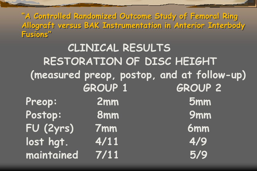 """A Controlled Randomized Outcome Study of Femoral Ring Allograft versus BAK Instrumentation in Anterior Interbody Fusions"" CLINICAL RESULTS RESTORATIO"