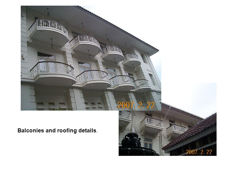 Balconies and roofing details.