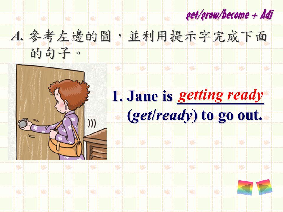 A. 參考左邊的圖,並利用提示字完成下面 的句子。 的句子。 1. Jane is ___________ (get/ready) to go out.