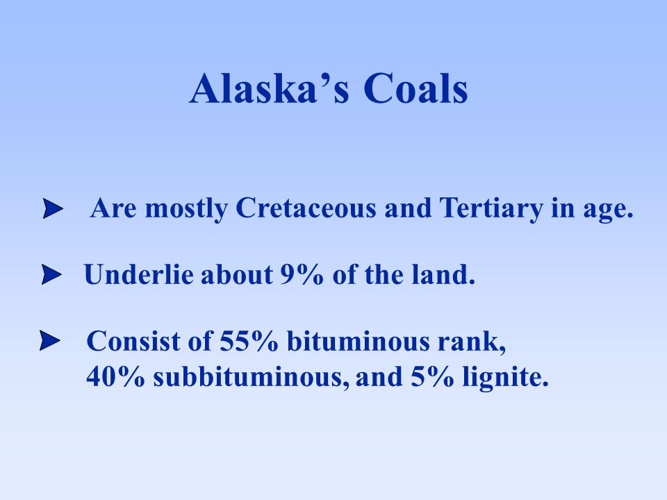 Alaska's Coals Are mostly Cretaceous and Tertiary in age.