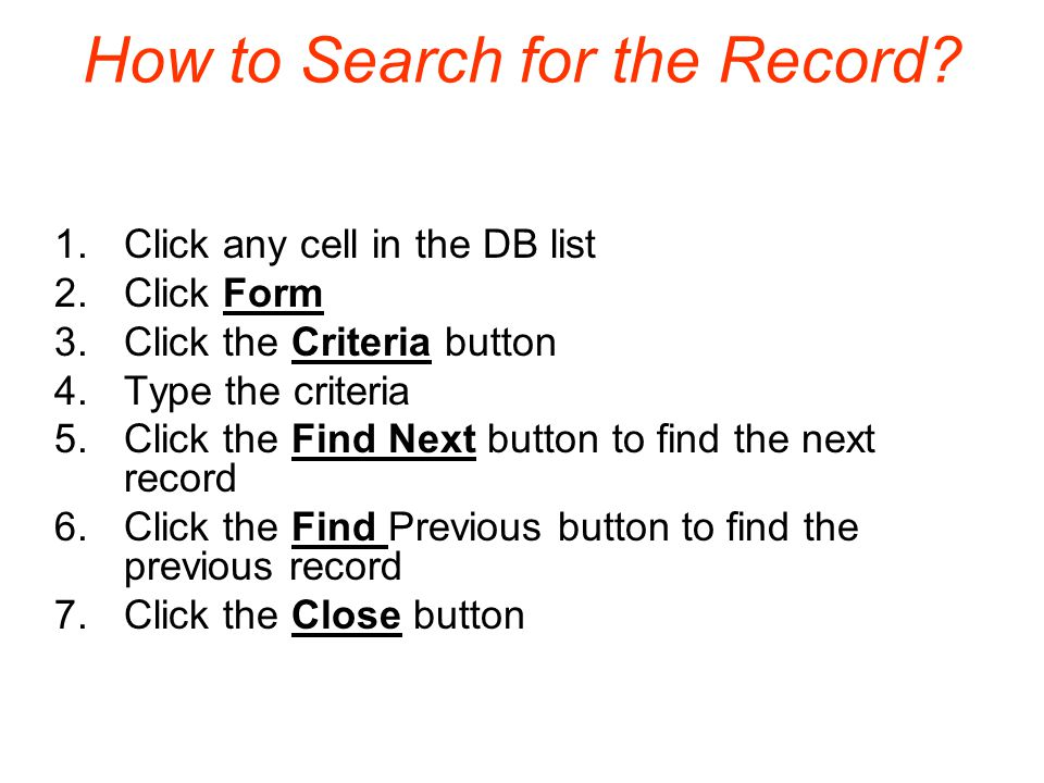 How to Search for the Record.