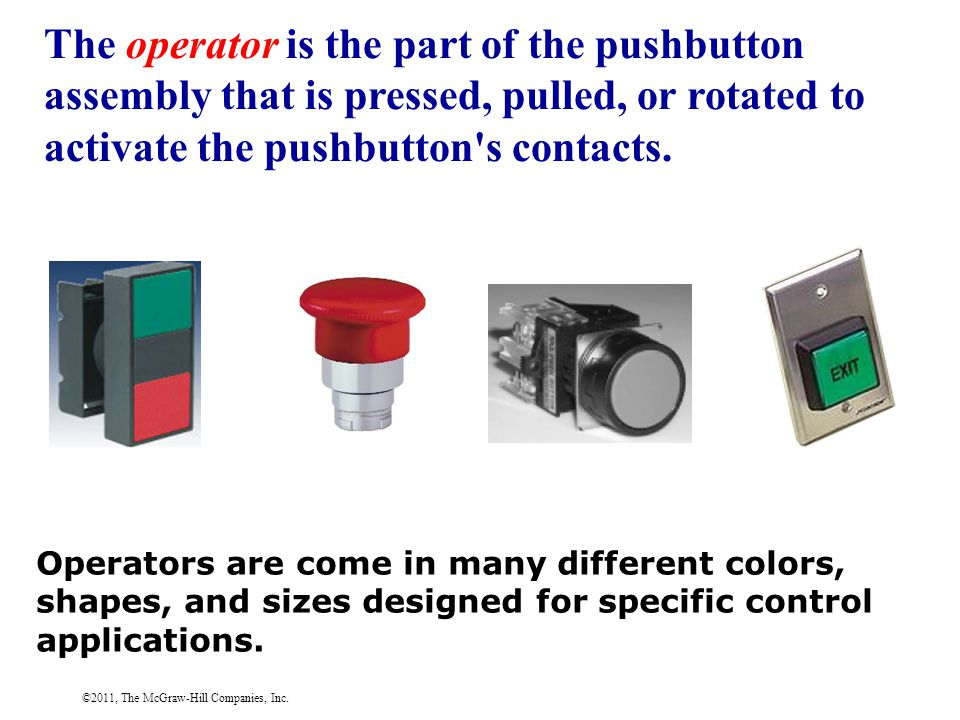 ©2011, The McGraw-Hill Companies, Inc. The operator is the part of the pushbutton assembly that is pressed, pulled, or rotated to activate the pushbut