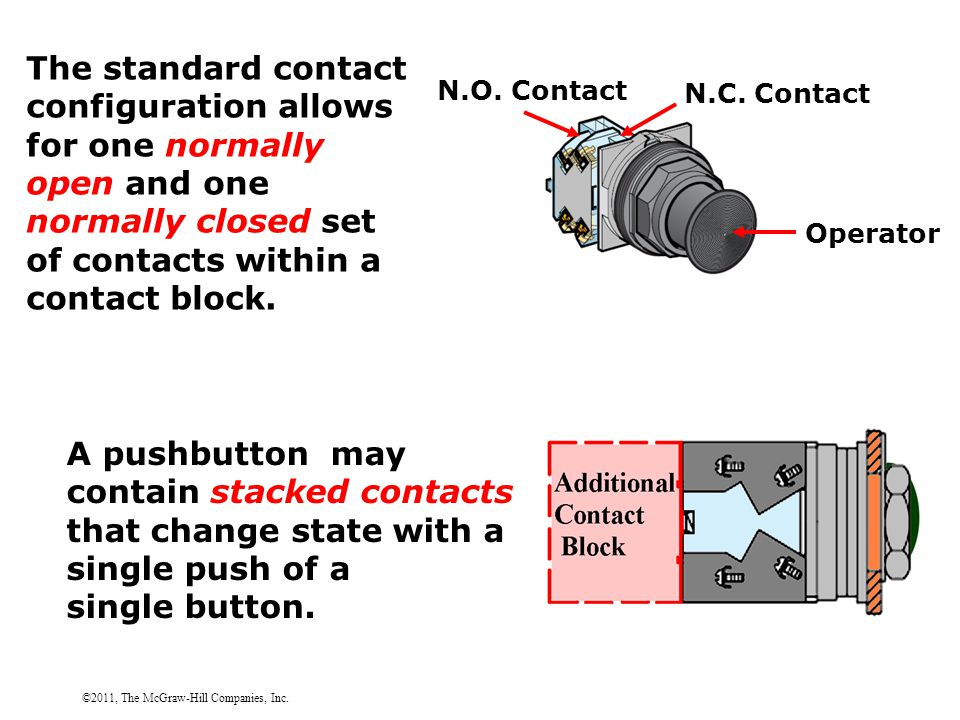 ©2011, The McGraw-Hill Companies, Inc. The standard contact configuration allows for one normally open and one normally closed set of contacts within