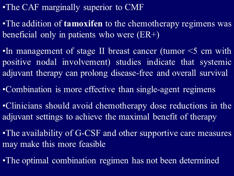 The CAF marginally superior to CMF The addition of tamoxifen to the chemotherapy regimens was beneficial only in patients who were (ER+) In management