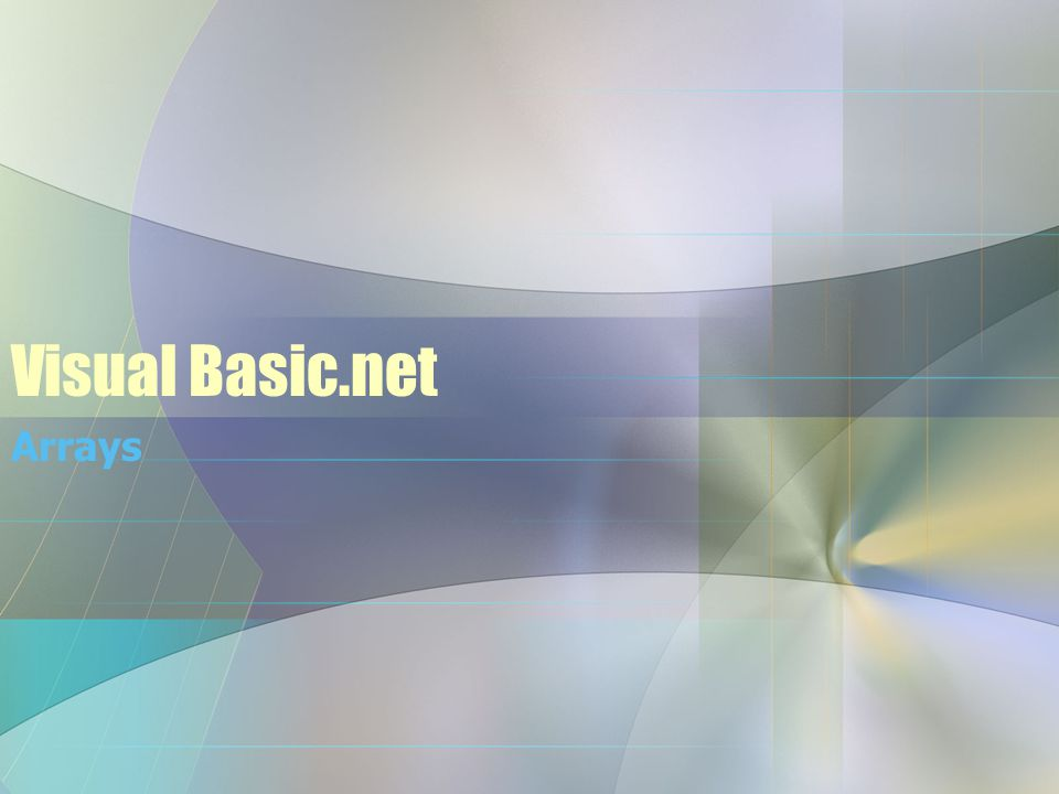 Visual Basic.net Arrays