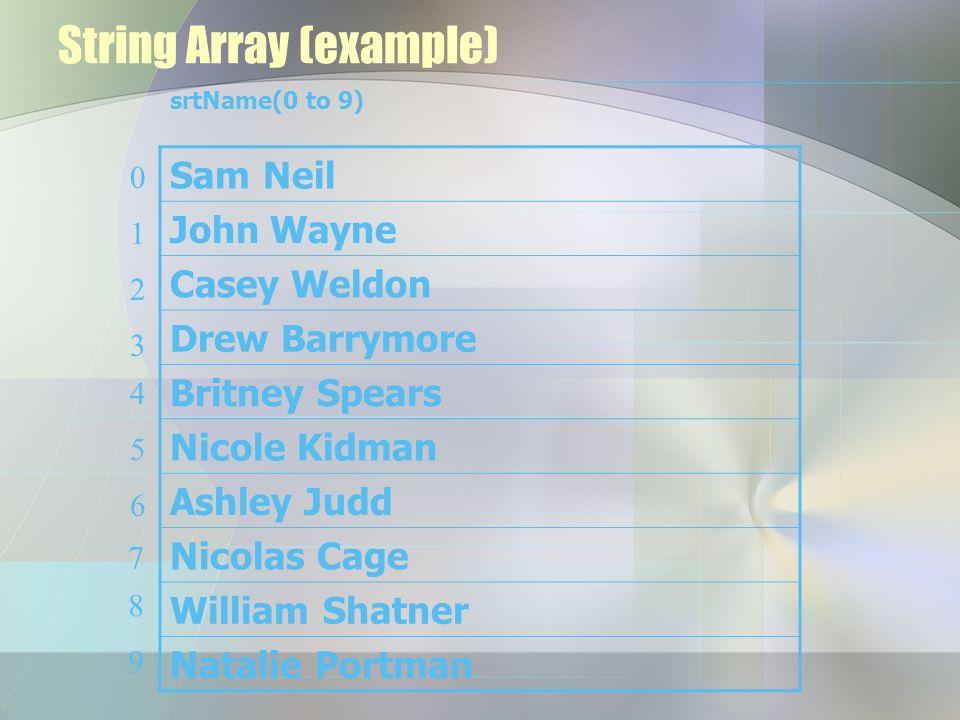 String Array (example) Sam Neil John Wayne Casey Weldon Drew Barrymore Britney Spears Nicole Kidman Ashley Judd Nicolas Cage William Shatner Natalie P