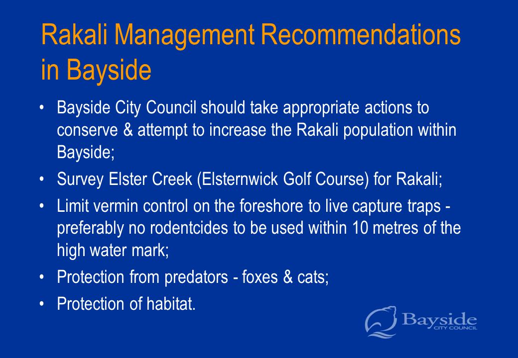 Rakali Management Recommendations in Bayside Bayside City Council should take appropriate actions to conserve & attempt to increase the Rakali population within Bayside; Survey Elster Creek (Elsternwick Golf Course) for Rakali; Limit vermin control on the foreshore to live capture traps - preferably no rodentcides to be used within 10 metres of the high water mark; Protection from predators - foxes & cats; Protection of habitat.