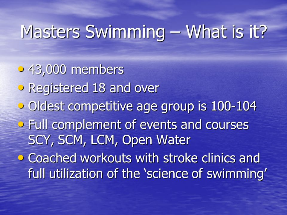 Masters Swimming – What is it.
