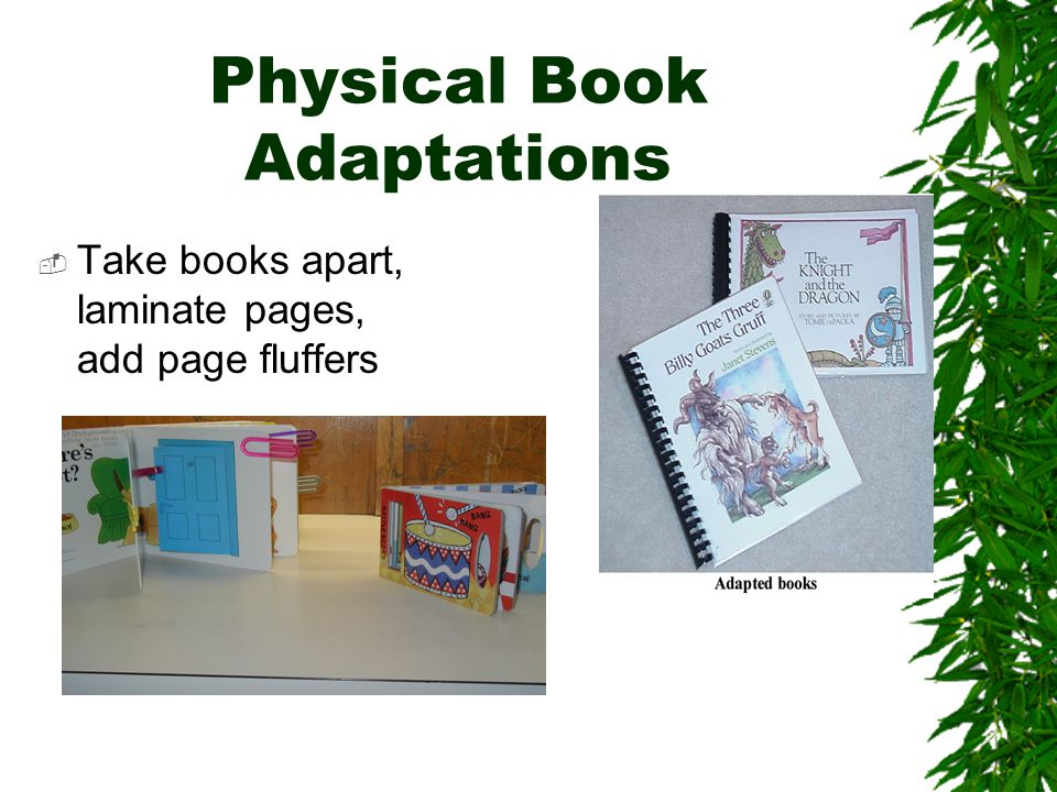 Physical Book Adaptations  Take books apart, laminate pages, add page fluffers