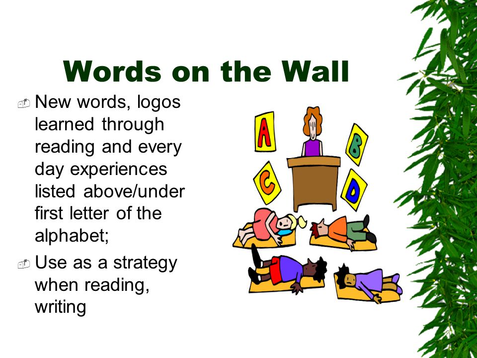 Words on the Wall  New words, logos learned through reading and every day experiences listed above/under first letter of the alphabet;  Use as a strategy when reading, writing