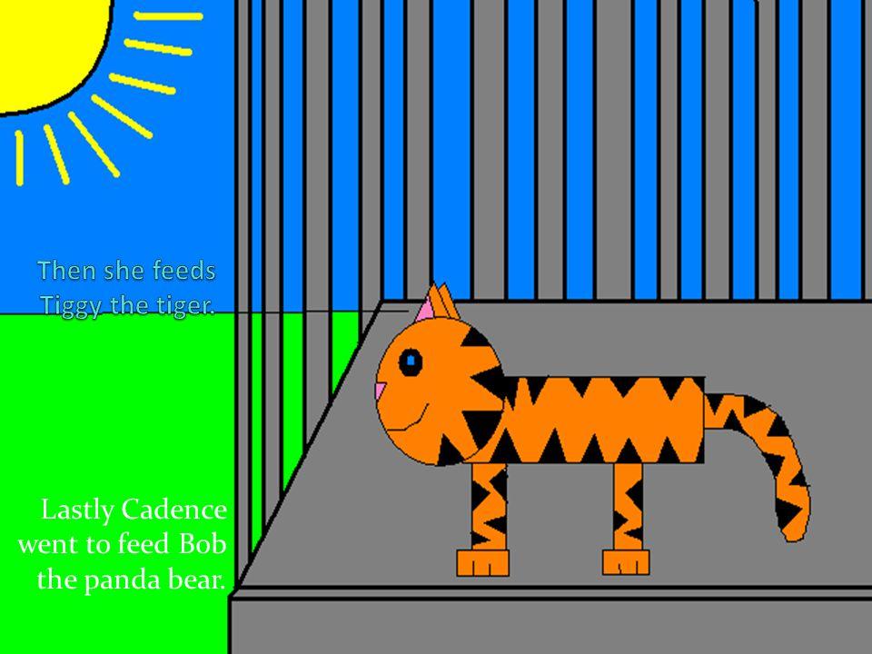 Lastly Cadence went to feed Bob the panda bear.