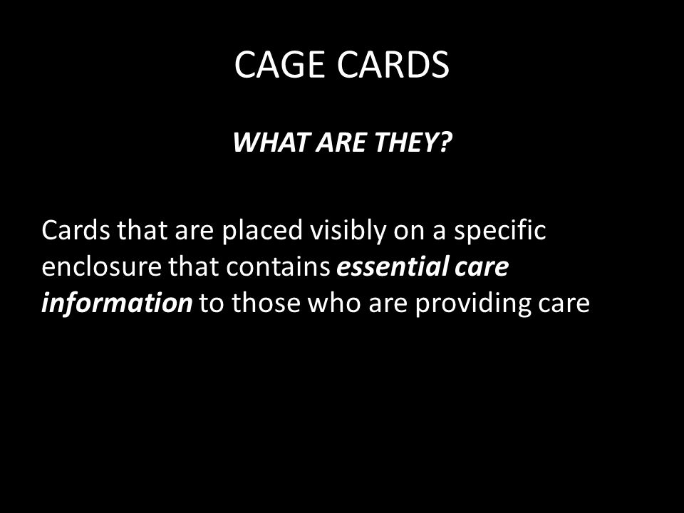 CAGE CARDS WHAT ARE THEY.