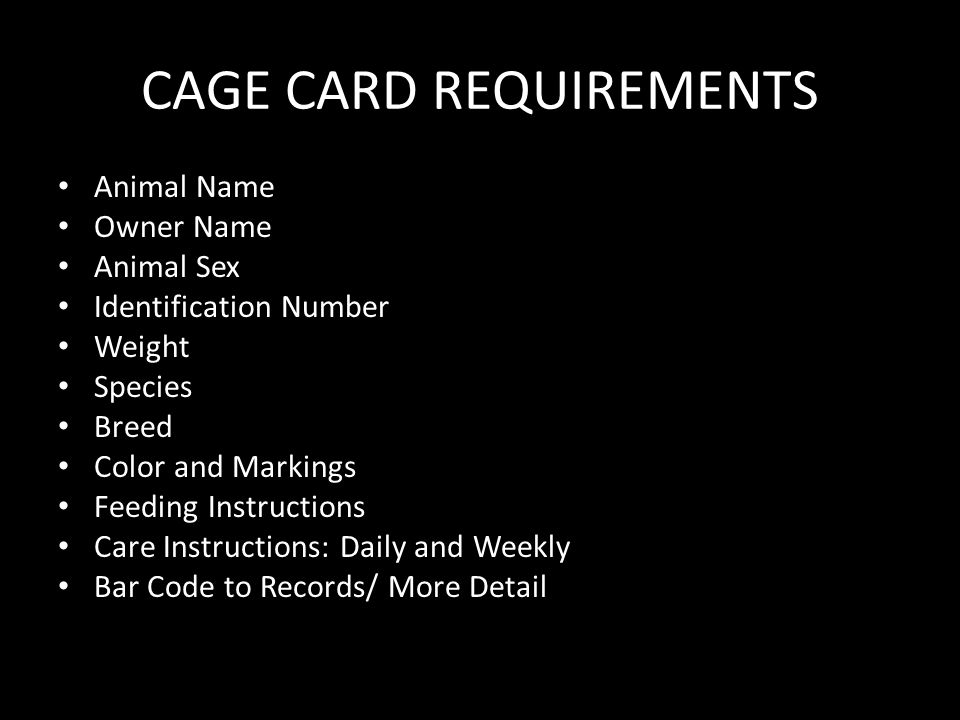CAGE CARD REQUIREMENTS Animal Name Owner Name Animal Sex Identification Number Weight Species Breed Color and Markings Feeding Instructions Care Instructions: Daily and Weekly Bar Code to Records/ More Detail
