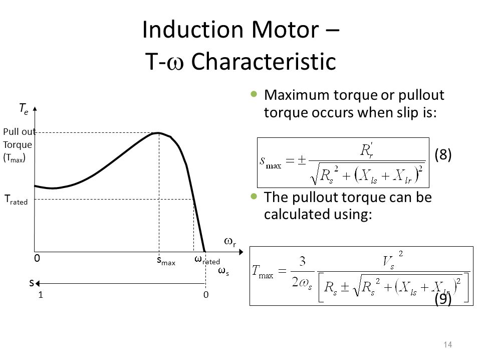 Induction Motor – T-  Characteristic Maximum torque or pullout torque occurs when slip is: (8) The pullout torque can be calculated using: (9) 14 r