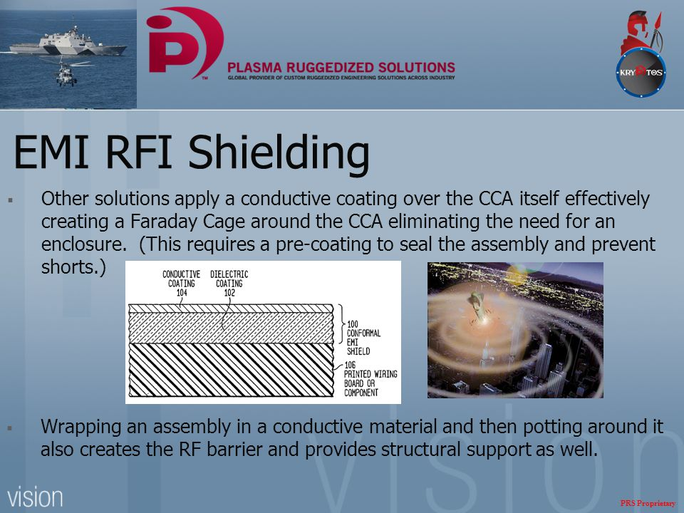 EMI RFI Shielding  Other solutions apply a conductive coating over the CCA itself effectively creating a Faraday Cage around the CCA eliminating the