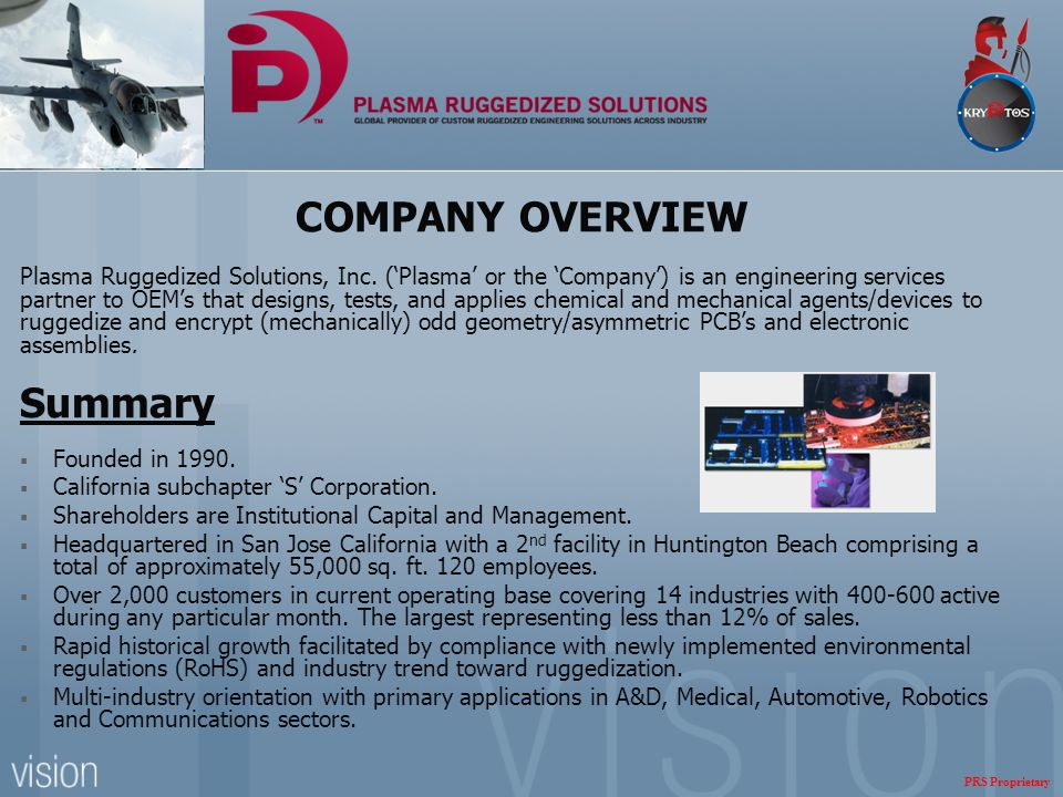 COMPANY OVERVIEW Plasma Ruggedized Solutions, Inc. ('Plasma' or the 'Company') is an engineering services partner to OEM's that designs, tests, and ap