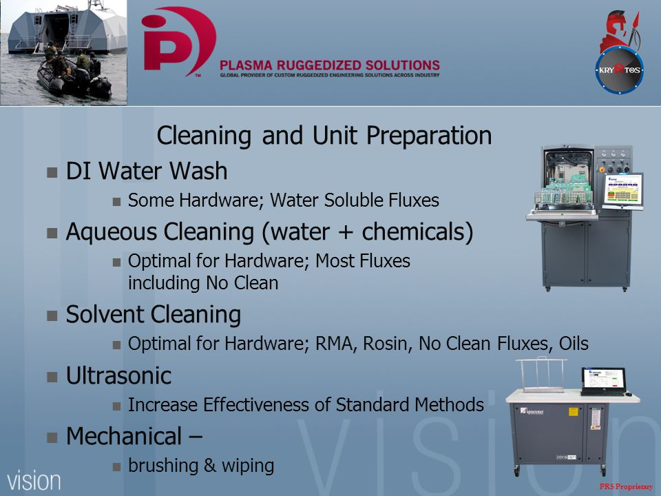 Cleaning and Unit Preparation DI Water Wash Some Hardware; Water Soluble Fluxes Aqueous Cleaning (water + chemicals) Optimal for Hardware; Most Fluxes
