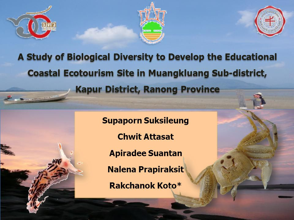 A Study of Biological Diversity to Develop the Educational Coastal Ecotourism Site in Muangkluang Sub-district, Kapur District, Ranong Province Supaporn Suksileung Chwit Attasat Apiradee Suantan Nalena Prapiraksit Rakchanok Koto*