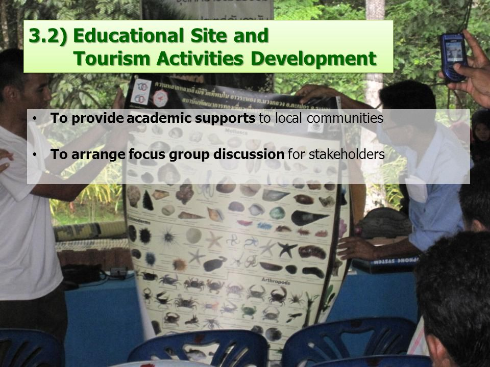 3.2) Educational Site and Tourism Activities Development To provide academic supports to local communities To arrange focus group discussion for stakeholders