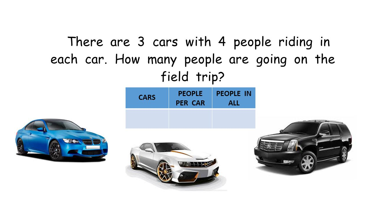 There are 3 cars with 4 people riding in each car.
