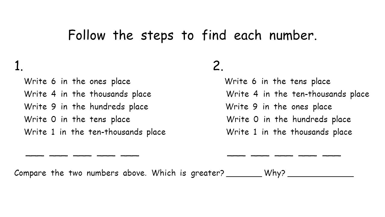 Follow the steps to find each number. 1. 2. Write 6 in the ones place Write 6 in the tens place Write 4 in the thousands place Write 4 in the ten-thou
