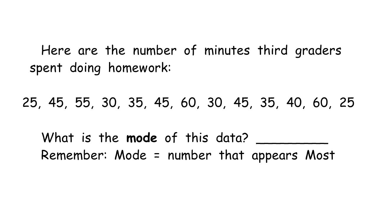 Here are the number of minutes third graders spent doing homework: 25, 45, 55, 30, 35, 45, 60, 30, 45, 35, 40, 60, 25 What is the mode of this data.